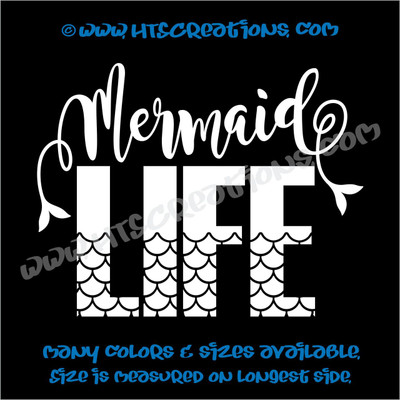 Mermaid Life Hawaii Hawaiian Island Beach Aloha Truck Bumper Laptop Wall Vinyl Decal WHITE