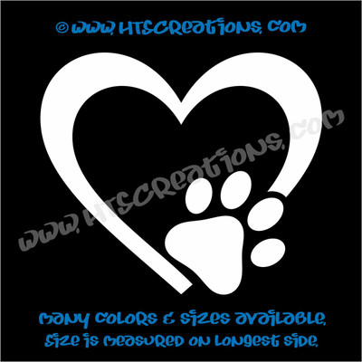 Heart Paw Prints Love Rescue Dog Lover Adopt Pet Vinyl Decal Truck Laptop Wall Vinyl Decal WHITE
