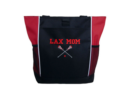 Lax Lacrosse Sticks Sports Monogammed Personalized RED Embroidered Zippered Tote Bag VARSITY FONT