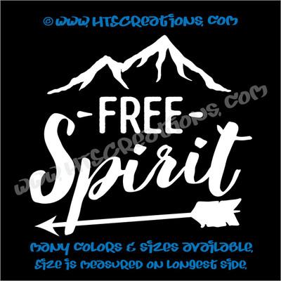 Free Spirit Mountain Camping Hiking Adventure Vinyl Decal Laptop Car WHITE