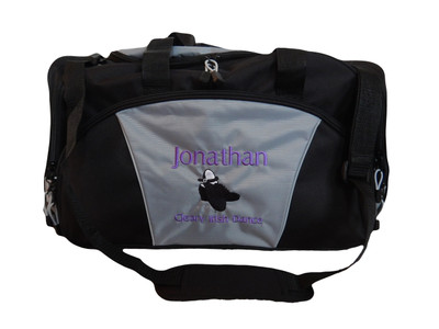 Irish Male Tap Clogging Shoes Irish Dance Jazz Personalized Embroidered GREY Duffel Font Style LONDON