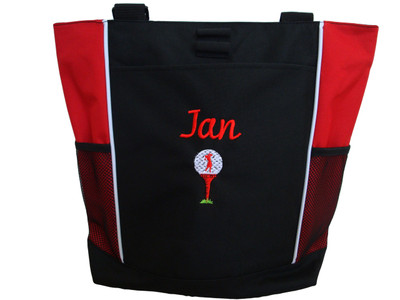 Lady Golfer Tee Golf Bag Golfing Personalized Embroidered Zippered RED Tote Bag FONT style CURSIVE