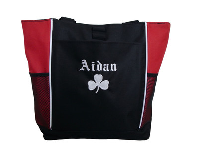 Shamrock Celtic Irish Dancer Clover Personalized Embroidered RED Zippered Tote Bag Font Style CELTIC