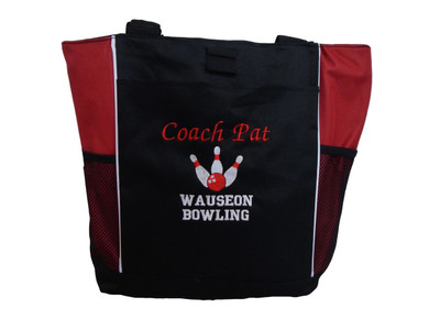 Bowling Ball 10 Pins Personalized RED Tote Bag Font Style MONO CORSIVA and VARSITY Embroidered Zippered Tote Bag