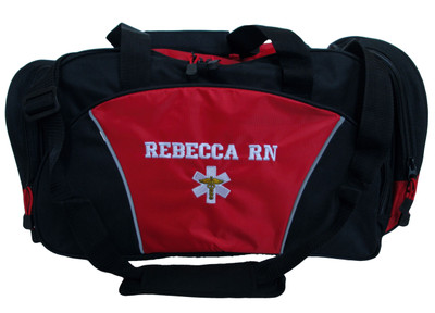 Star of Life Caduceus RED DUFFEL EMT EMS Paramedic First Responder Personalized Embroidered Font Style VARSITY