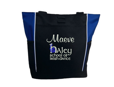 Haley School of Irish Dance Knot Personalized Embroidered ROYAL BLUE Zippered Tote Bag  Font Style CASUAL SCRIPT