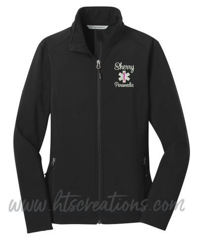 Star of Life Fire Rescue FF Paramedic Medic Softshell Jacket BLACK Font Style SWEETHEART