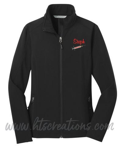 Phlebotomist Medic Softshell Jacket UNISEX MENS, WOMENS & YOUTH Sizes  BLACK Font Style CASUAL SCRIPT