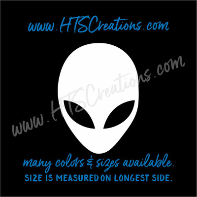 Alien Head Extraterrestial UFO Area 51 Radiation Outer Space Vinyl Decal Laptop Car Boat Mirror Truck Mirror Cell Phone Thermos WHITE