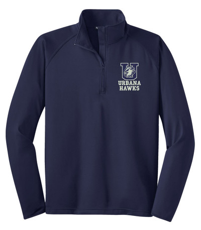 Urbana Hawks Half Zip Performance Stretch Sport Wick Polyester Spandex Pullover Many Colors Available NAVY