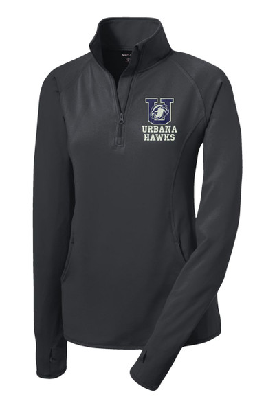 Urbana Hawks Half Zip Performance Stretch LADIES Sport Wick Polyester Spandex Pullover Many Colors Available CHARCOAL GREY