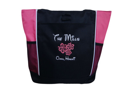 Hibiscus Flower Lei Hawaii Hawaiian Beach Bride Wedding Custom Personalized HOT TROPICAL PINK Embroidered Zippered Tote Bag FONT Style MAGICAL