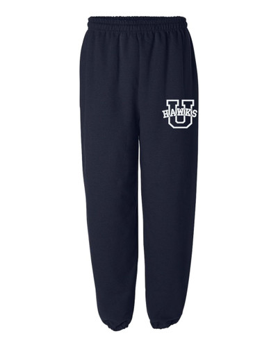 URBANA Sweatpants Cotton Elastic Cuff Bottom Colors Navy or Grey Available YOUTH NAVY
