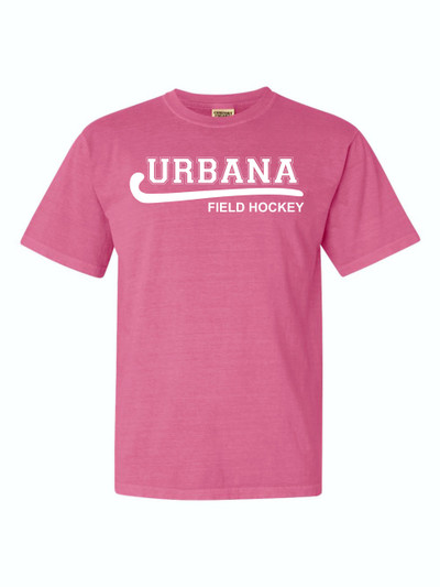 Urbana FIELD HOCKEY T-shirt Cotton COMFORT COLORS Many Colors Available YOUTH CRUNCHBERRY