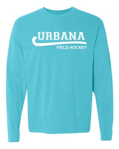 Urbana FIELD HOCKEY T-shirt Cotton COMFORT COLORS Long Sleeve Many Colors Available LAGOON