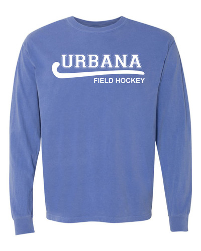 Urbana FIELD HOCKEY T-shirt Cotton COMFORT COLORS Long Sleeve Many Colors Available YOUTH FLO BLUE