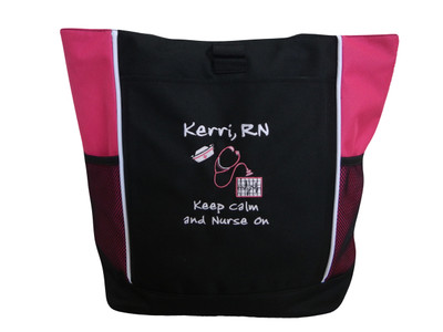 Heart Steth Keep Calm Nurse On Nursing RN BSN RT Cna Cvn Bsn Cardiac Registered Medic Student Stethoscope Case Manager Tote Bag Personalized HOT TROPICAL PINK Font Style Jenkins