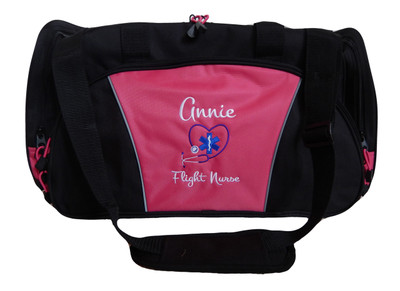 Star of Life Heart Stethoscope EMT EMS Paramedic First Responder Flight Nurse Personalized Embroidered Duffel TROPICAL HOT PINK Bag FONT STYLE Monte Carlo