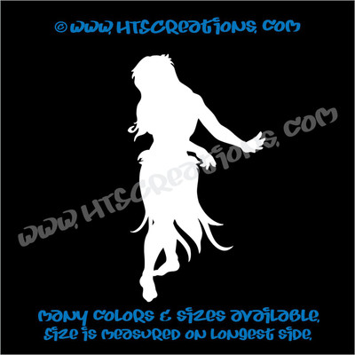 Hula Dancer Hawaiian Vinyl Decal WHITE