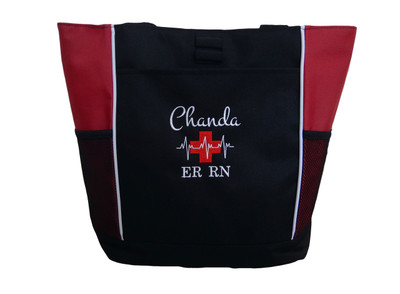Heartbeat First Aid Cross EKG Medical Nursing Nurse ER RN Paramedic RED Tote Bag Font Style MONTE CARLO and BODINI