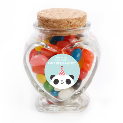 Panda Birthday  Heart Glass Jar