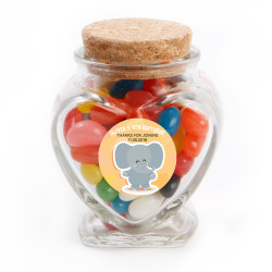 Baby Elephant Birthday Heart Glass Jar