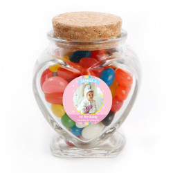 Pink Baby Birthday Heart Glass Jar