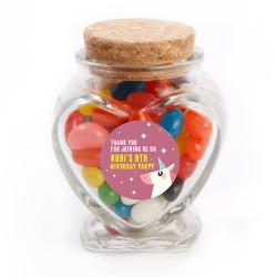 Mauve Unicorn Birthday Heart Glass Jar