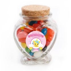 Rainbow Unicorn Birthday Heart Glass Jar