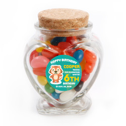 Baby Tiger Birthday Heart Glass Jar