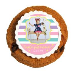 Girly Stripes Birthday Printed Cookies