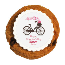 Biking Hearts Valentine Printed Cookies