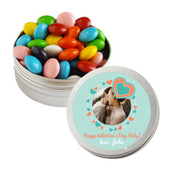 Blue and Orange Heart Valentine Twist Tins