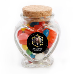 Black and Gold Custom Photo Birthday Glass Jar