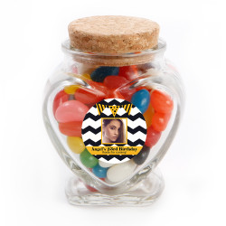 Black Chevron Custom Photo Birthday Glass Jar