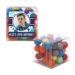 Blue Polkadots with Custom Photo  Birthday Sweet Cubes