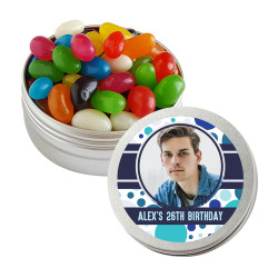 Blue Polkadots with Custom Photo Birthday Twist Tins