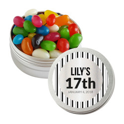 Black Stripes Birthday Twist Tins