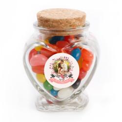 Pink Flower Custom Photo Wedding Glass Jar