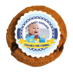Blue Custom Photo Baby Shower Printed Cookies