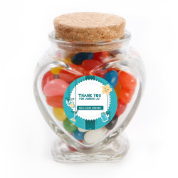 Blue Green Baby Shower Glass Jar