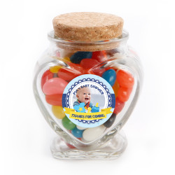 Blue Custom Photo Baby Shower Glass Jar