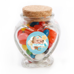 Blue Star Custom Photo Baby Shower Glass Jar