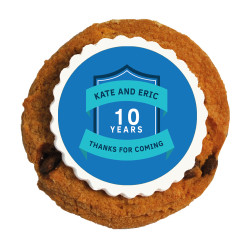 Blue Text Anniversary Printed Cookies