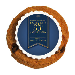 Gold and Blue Text  Anniversary Printed Cookies