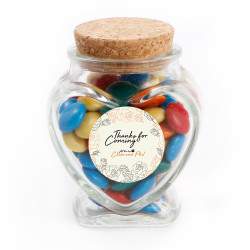 White Floral Text Anniversary Glass Jar