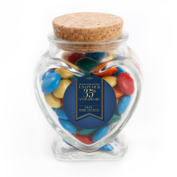 Gold and Blue Text Anniversary Glass Jar