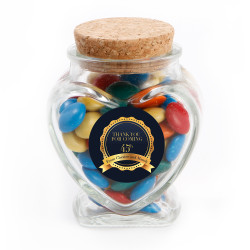 Blue and Gold Text Anniversary Glass Jar