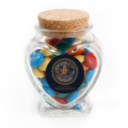 Golden Blue Custom Photo Anniversary Glass Jar