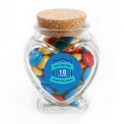 Blue Text Anniversary Glass Jar